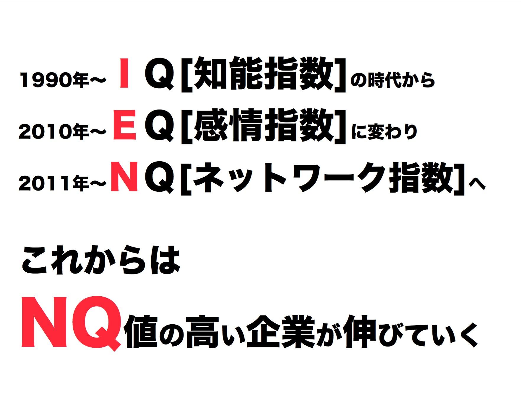 2011年4月ビジネスサークル『2011年新しい時代』これからはNQ値が高い企業が伸びる